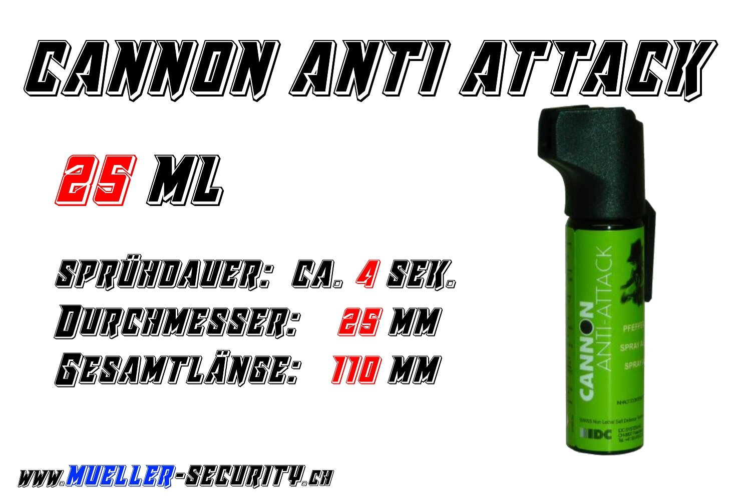 Pfefferspray - Cannon Anti Attack - Inhalt: 25 ml
